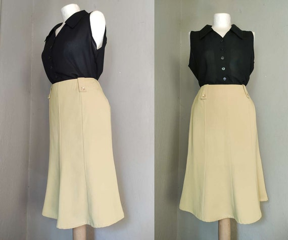 Vintage 40s style butter yellow skirt / bias cut h