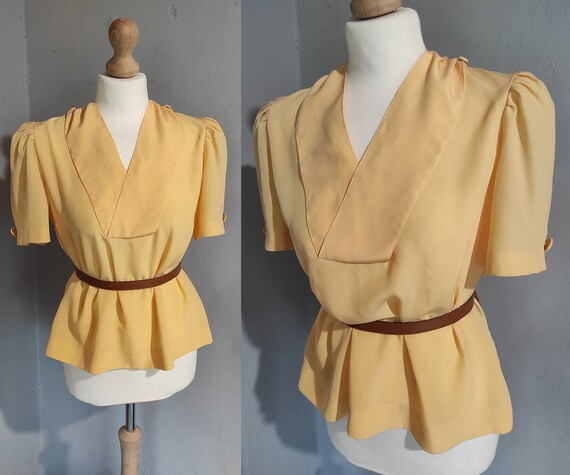 Vintage 40s style puff sleeve blouse / peach sailo