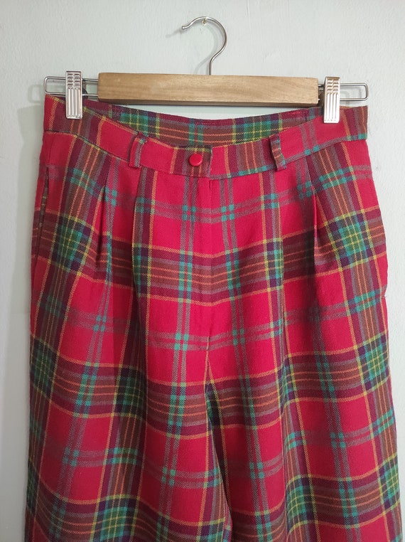 Vintage 80s-90s tartan Japanese design wool pants… - image 2