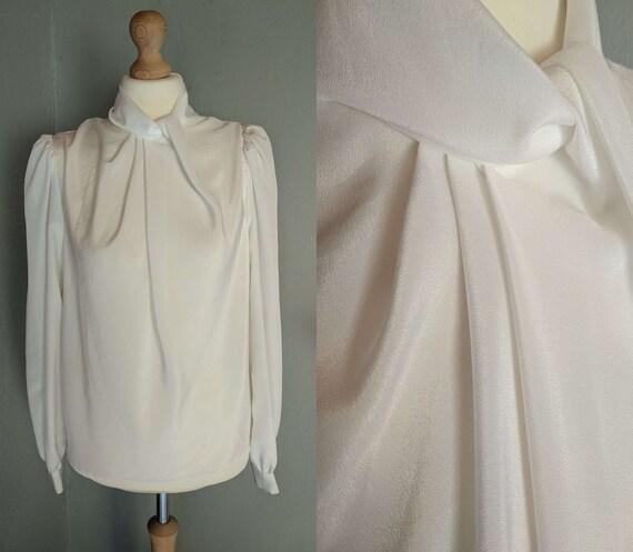 70s 80s vintage funnel blouse/ white satin effect