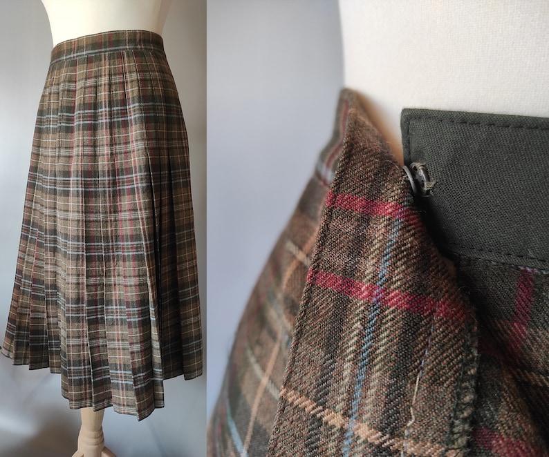 Vintage 1970s Wool  Skirt wrap high waist skirt  Scottish Kilt style pleated  A line skirt olive green knee size S-M