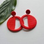 Statement red earrings, large red earrings, geometric earrings, polymer clay earrings, light statement earrings, modern earrings