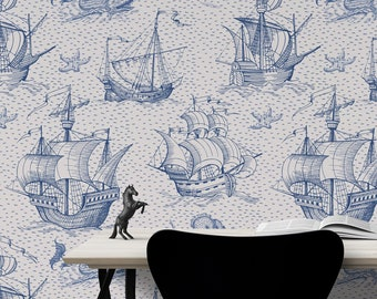 Old sailboat and sea monster wallpaper, hand drawn pattern, self adhesive wallpaper, peel and stick, vintage wall mural, temporary wallpaper