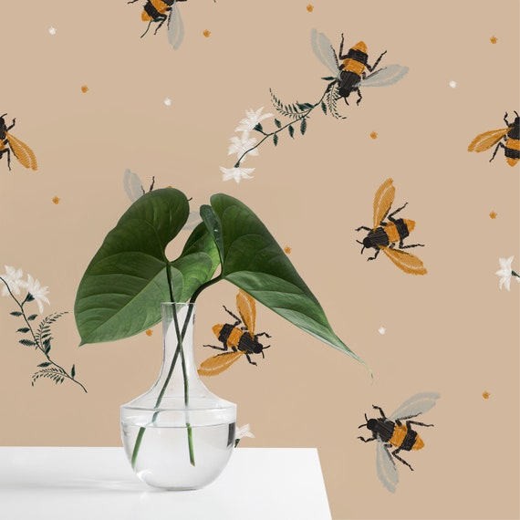 Honey Bee And Flowers Wallpaper Self Adhesive Wallpaper Animal Pattern Vintage Peel And Stick Mural Temporary Wallpaper Wall Sticker