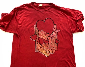 80s Disney s Winnie the Pooh   Piglet Red Womens TShirt Night Shirt One  Size Sleepwear Nightgown Retro 1980s USA Ultra Rare Vintage dab22d2f7