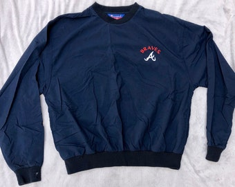 a5e6e681bf501 90s Champion Pullover Nylon Atlanta Braves Large Authentic Retro 1990s L  Navy Blue Shirt MLB Baseball Ultra Rare Vintage