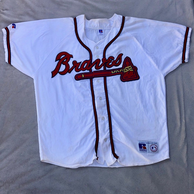 official photos 4d5a7 8a302 90's Russell Atlanta Braves Baseball Jersey XL Extra Large Athletic Genuine  Authentic Retro 1990s 90s Xtra MLB USA Ultra Rare Vintage