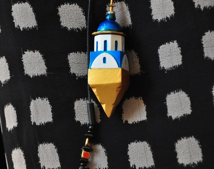 """Necklace """"Santorin House Container"""" adjustable"""