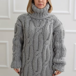 Nordic oversize top Chunky turtleneck wool sweater Knit loose fit pullover Long sleeve beige cardigan