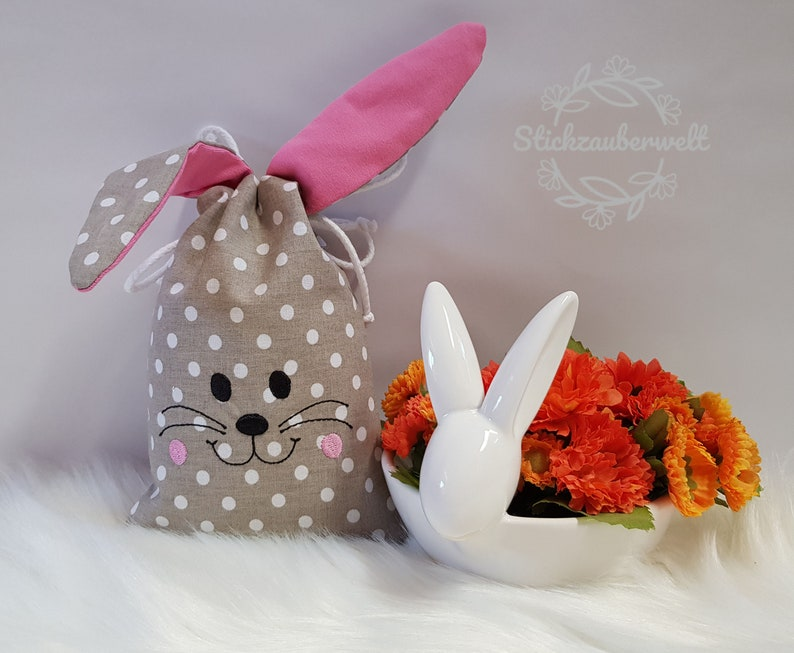 Fabric  Easter bag / Easter bag bunny with drawstring/ ITH in image 0