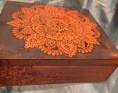 Faded blue mandala cigar box