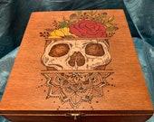 Skull Flower Mandala Cigar Box