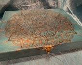 Teal Mandala Cigar Box