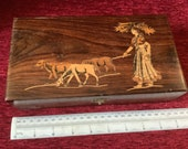 Vintage Indian inlaid woman with cattle box c. 1950s