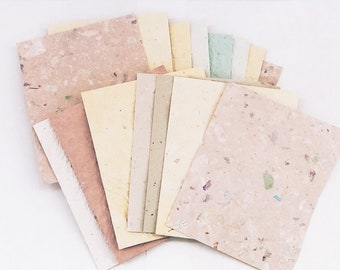 FREE SHIPPING~~Handmade Paper, Recycled Paper, Deco Paper, Eco Friendly Paper. 25 4 X 5, Textured Paper, Color Variety, Stamping, Crafting