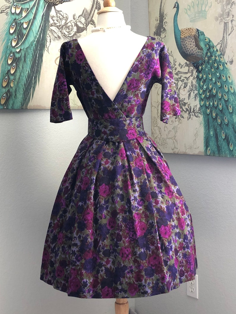 Vintage 1950/'s Mr Mort Purple Floral Wool Low Back Dress with Belt