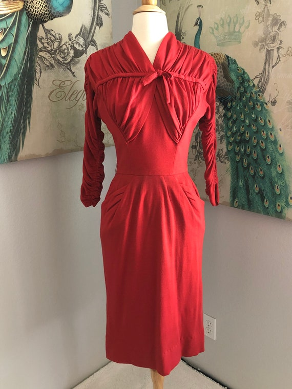 Vintage Ceil Chapman Red Ruched Top Wool Dress S
