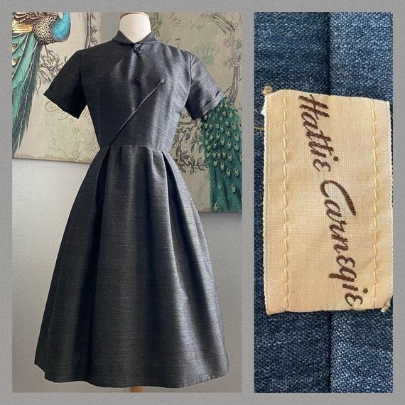 Vintage 1950s Hattie Carnegie wool blend dress XS