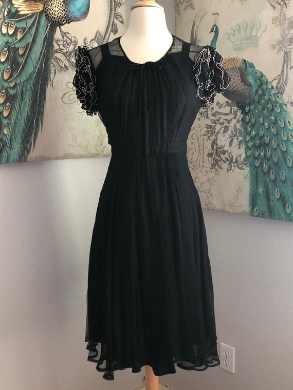 Vintage 30s Semi-sheer Black Rayon Dress Size S