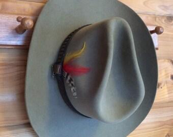 JB Stetson Cowboy Hat 3X Beaver Felt Vintage 3c143137a86c