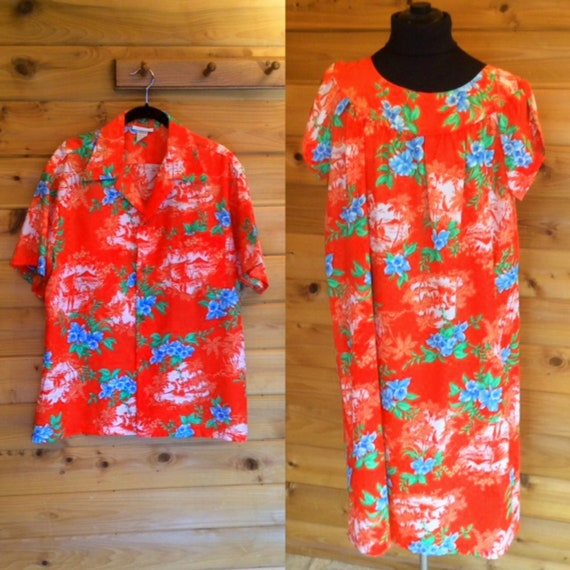 Matching Vintage Hawaiian Mens Shirt Size XL, Vint