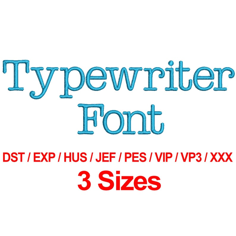 Typewriter Font - Machine Embroidery Design Fonts 3 Sizes Alphabets All  Formats - Instant Download