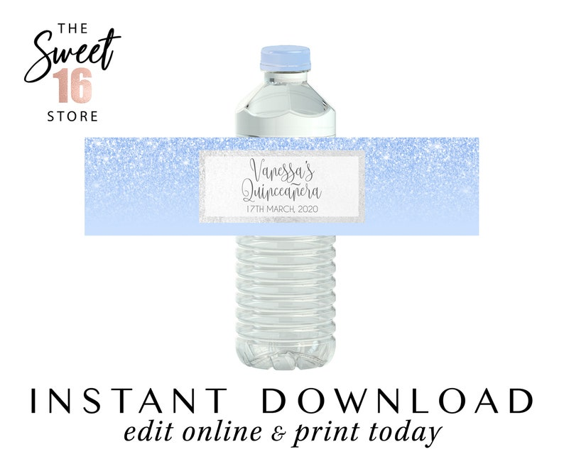Editable Bottle Stickers Printable Quinceanera Water Bottle Stickers Quinceanera Party Decorations Blue Instant Download Drinks Labels