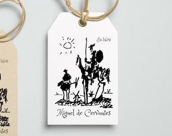 Book stamp, ex libris stamp, Don Quixote, Library Stamp, bookplate stamp, Ex-Libris Rubber Stamp, illustration, Miguel de Cervantes