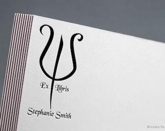 Greek letter Psi stamp, ex libris stamp, book stamp, custom ex libris