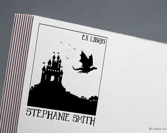 Book stamp, Dragon flying over the castle, ex libris stamp, Ex-Libris Rubber Stamp, bookplate stamp, lithography stamp, custom rubber stamp