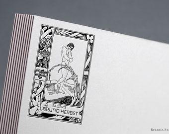 Ephraim Moshe Lilien illustration, Ex libris stamp, Bookplate, Book stamp, ex libris stamp, Library Stamp, ex libris, custom rubber stamp
