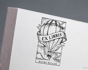 Book stamp, ex libris balloon, Library Stamp, from the library of, Ex-Libris Rubber Stamp, ex libris, bookplate stamp, custom rubber stamp