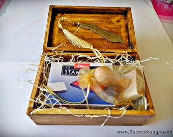 Gift pack, includes a custom ex libris stamp, metal bookmark and a black ink pad, all in an vintage wooden box, small chest, Christmas gift