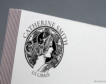 Le Dame, Alfons Mucha, Book stamp, ex libris stamp, Library Stamp, Ex-Libris Rubber Stamp, bookplate stamp, custom rubber stamp, french