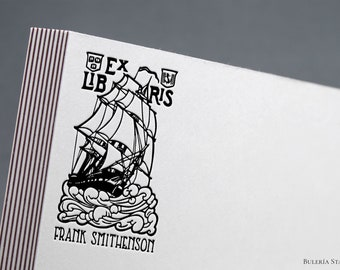 English Galleon, ex libris stamp, book stamp,  illustration stamp, ex libris stamp, Library Stamp, Ex-Libris Rubber Stamp, bookplate stamp