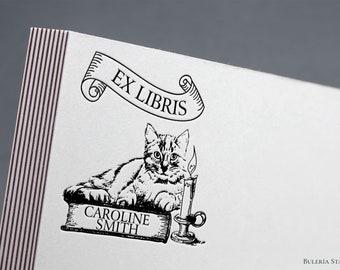 Cat on top of book, Book stamp, ex libris stamp, Library Stamp, Ex-Libris Rubber Stamp, ex libris, bookplate stamp, custom rubber stamp