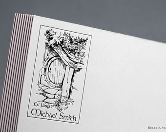 Hobbit door, Lord of the Rings, Book stamp, ex libris stamp, Library Stamp, Ex-Libris Rubber Stamp, bookplate stamp, custom rubber stamp