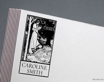 Book stamp, ex libris woman in the pond, Library Stamp, from the library of, Ex-Libris Rubber Stamp, bookplate stamp, calligraphy stamp
