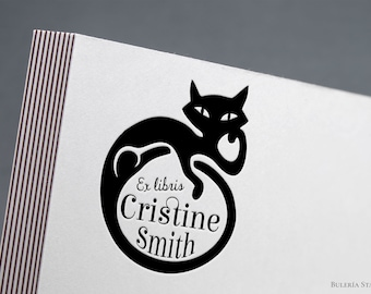 Book stamp, ex libris stamp, Library Stamp, from the library of, Ex-Libris Rubber Stamp, cat art deco, black cat, art decó, bookplate stamp
