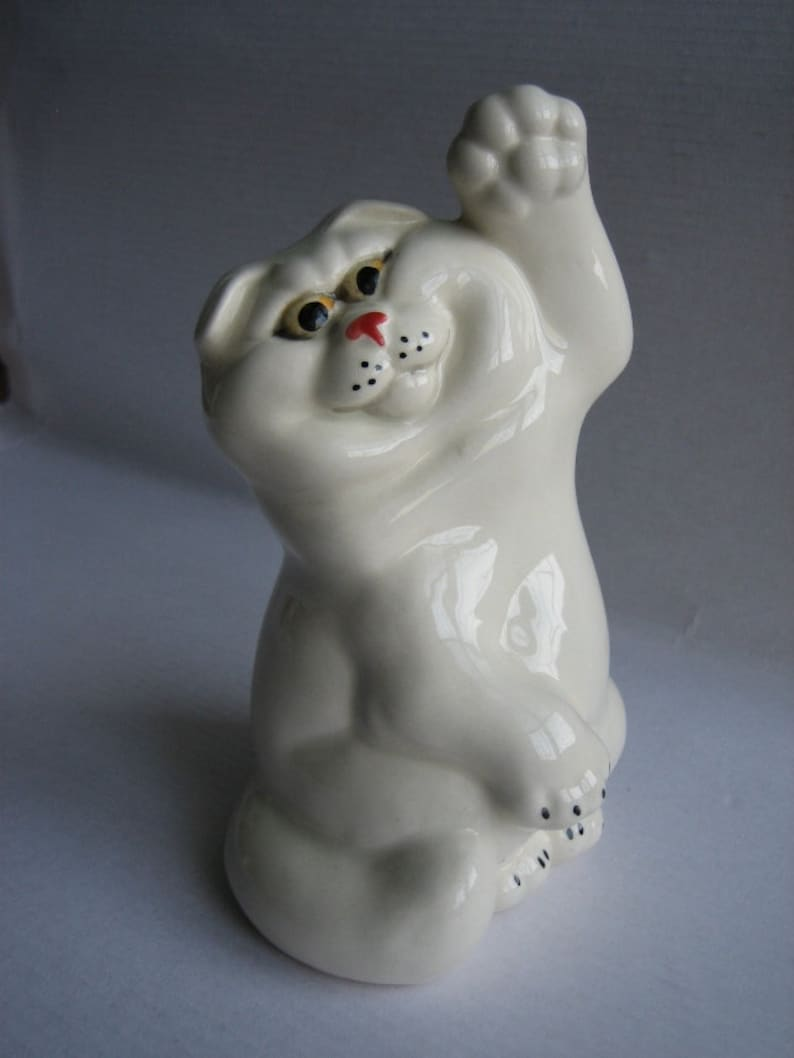 Skottish-fold faience figurine cat figurine handmade