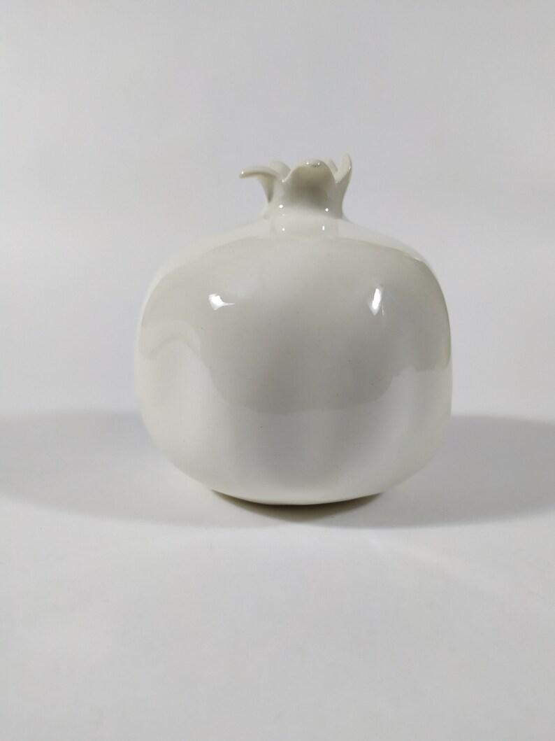 handmade Redwhite pomegranate porcelain figurine fruit figurine