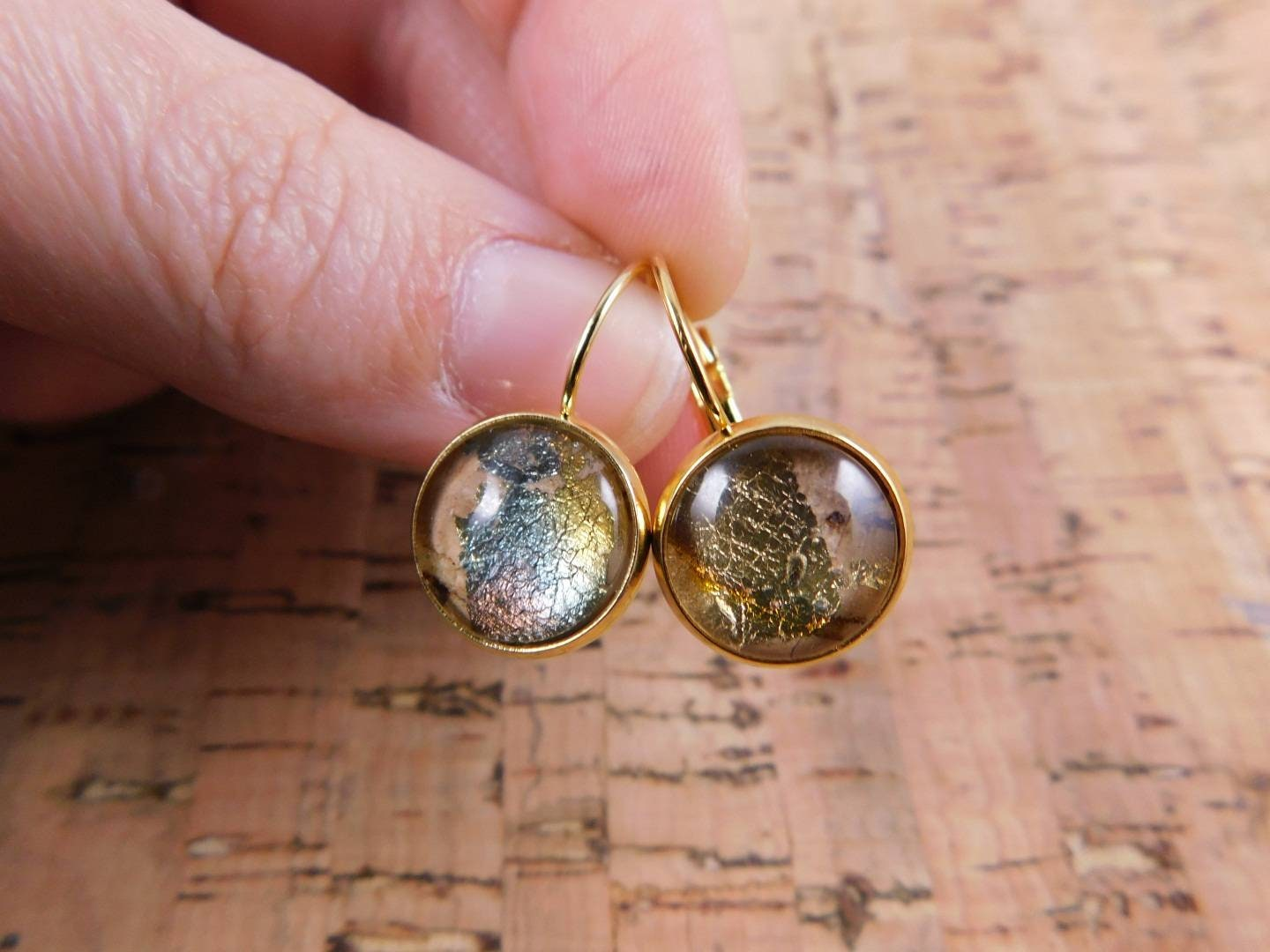 Gold Colored Stainless Steel Hanging Earrings Cork Leaf Metal Etsy,Sage And Lavender Color Scheme
