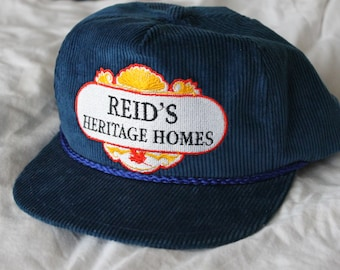 a32ee8cb46c Vintage Reid s Heritage Homes Embroidered Hat Blue Corduroy Snapback Cap  Made in Canada Adjustable Cord Rope Retro Trucker Hat