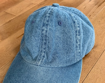 cd9c78fd59e Vintage 1990s No Name Denim Dad Hat Adjustable Strap Brass Fastener Faded  Selvedge 100% Cotton Adult One Size Blue Baseball Cap Streetwear