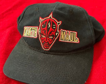 4b0a95cc587 Vintage Star Wars Episode I 1999 Embroidered Darth Maul Cap 1990s Promo Hat  100% Cotton One Size Black with Red Yellow Graphic Adjustable