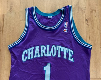 6276028dd6df21 Vintage 1990s Charlotte Hornets NBA Champion Jersey Muggsy Bogues Number 1  Large Basketball Tank Top Mesh Purple Turquoise Sportswear Brand
