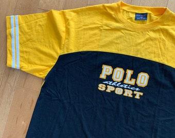5dd2bacc Early 1990's Ralph Lauren Polo Sports Yellow & Blue Colour-Blocked  Athletics T-shirt Tee Made In USA Rare Sailing XL Streetwear Hypebeast