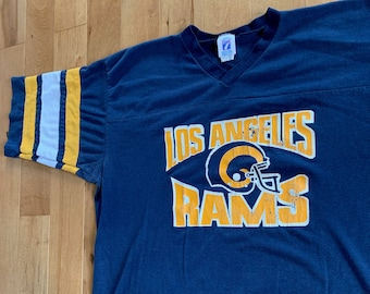 89414a0e Vintage 1990s Los Angeles Rams NFL Football Jersey Style T-shirt Logo 7 XL  Made in USA Tee Striped Sleeves California American V-Neck Shirt