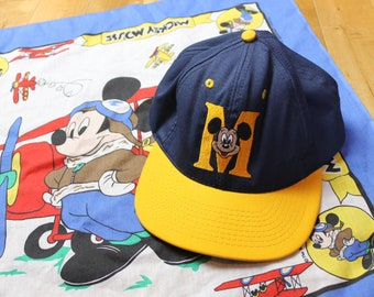 ab3f92960d4db Mickey Mouse Blue Yellow Vintage Snapback Walt Disney Goofy s Hat Co.  Embroidered Adjustable Baseball Cap 90s Cartoon Fashion Adult