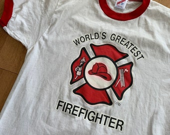 1c8c29ca Vintage World's Greatest Firefighter Ringer Tee 1980s Made in USA T-shirt  Red and White Jerzees Medium Retro Streetwear Rare Firetruck